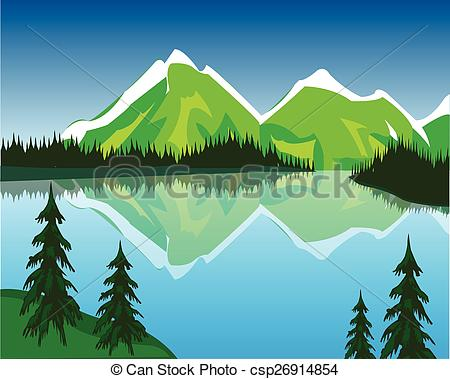 Clipart Vector of Lake in mountains.
