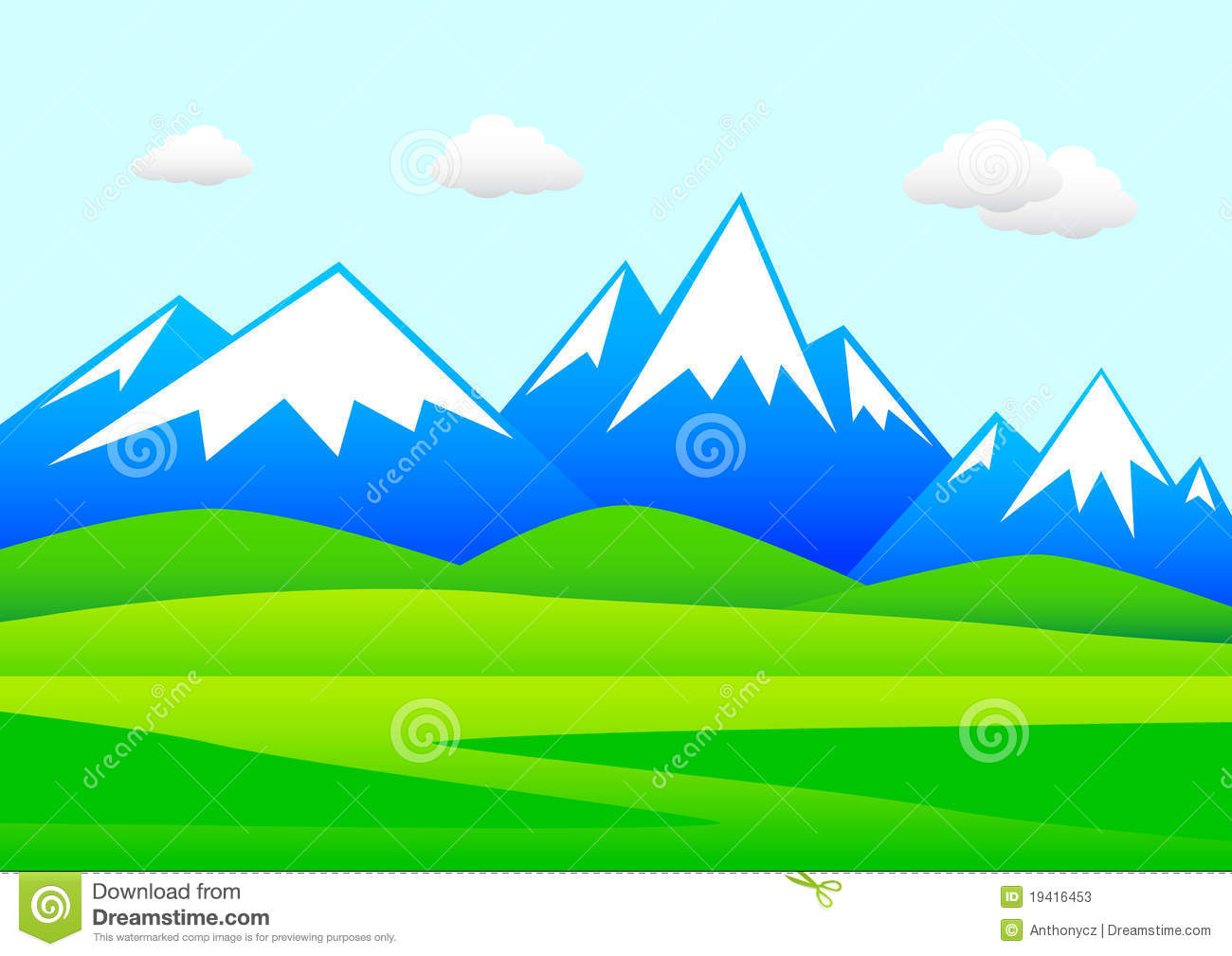 Landscape With Mountains Stock Photos.