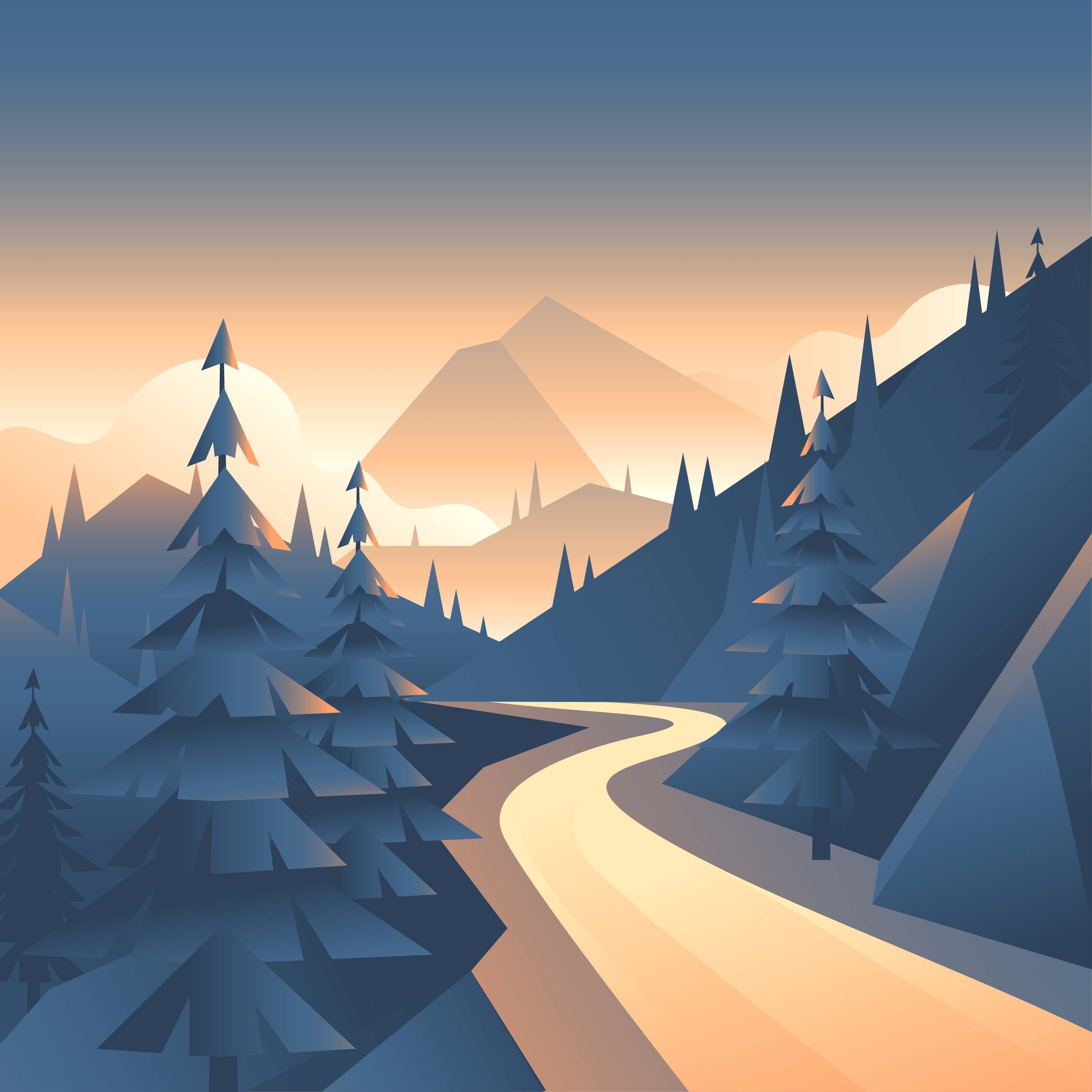 Mountain Valley Path Landscape First Person View Vector.