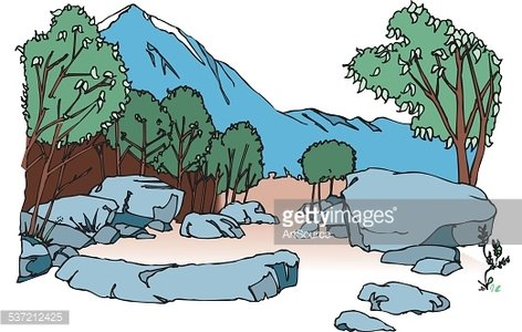 mountain valley Clipart Image.
