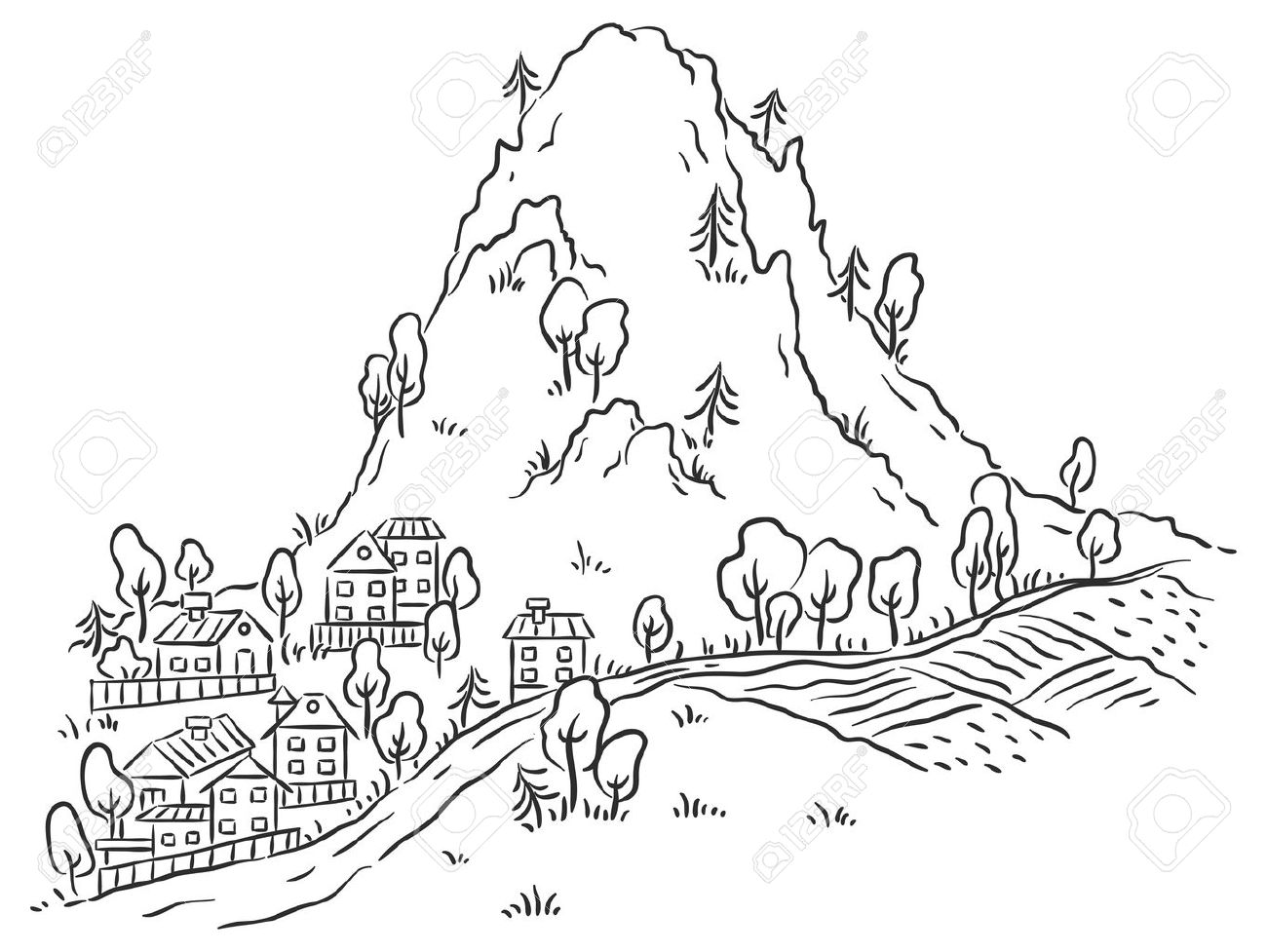 Cartoon town at the foot of the mountain, black and white outline.