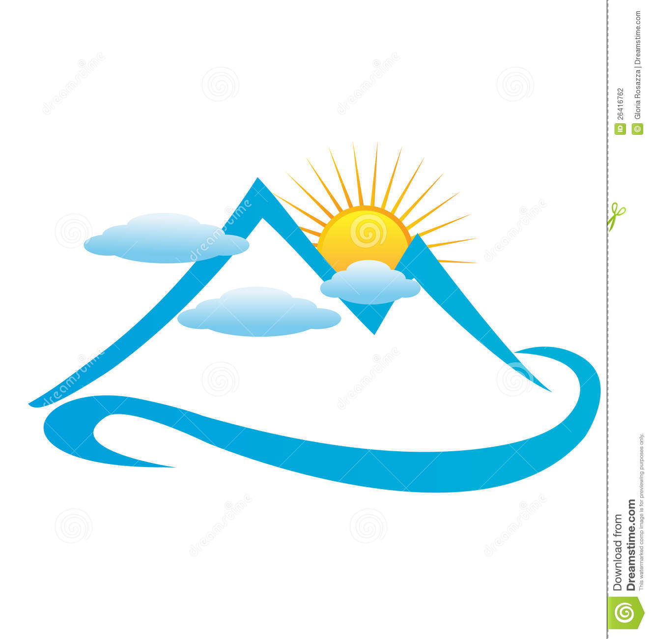 Cool computer logo with mountains clipart.