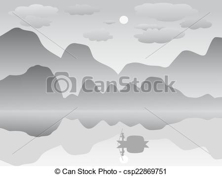 Clipart Vector of mist mountain reflection lake lands.