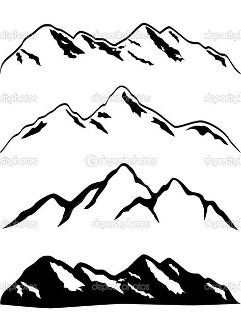Illustration of Various mountains with snow caps vector art.