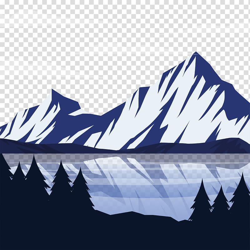 Mountains and lake illustration, Snow Mountain Landscape.
