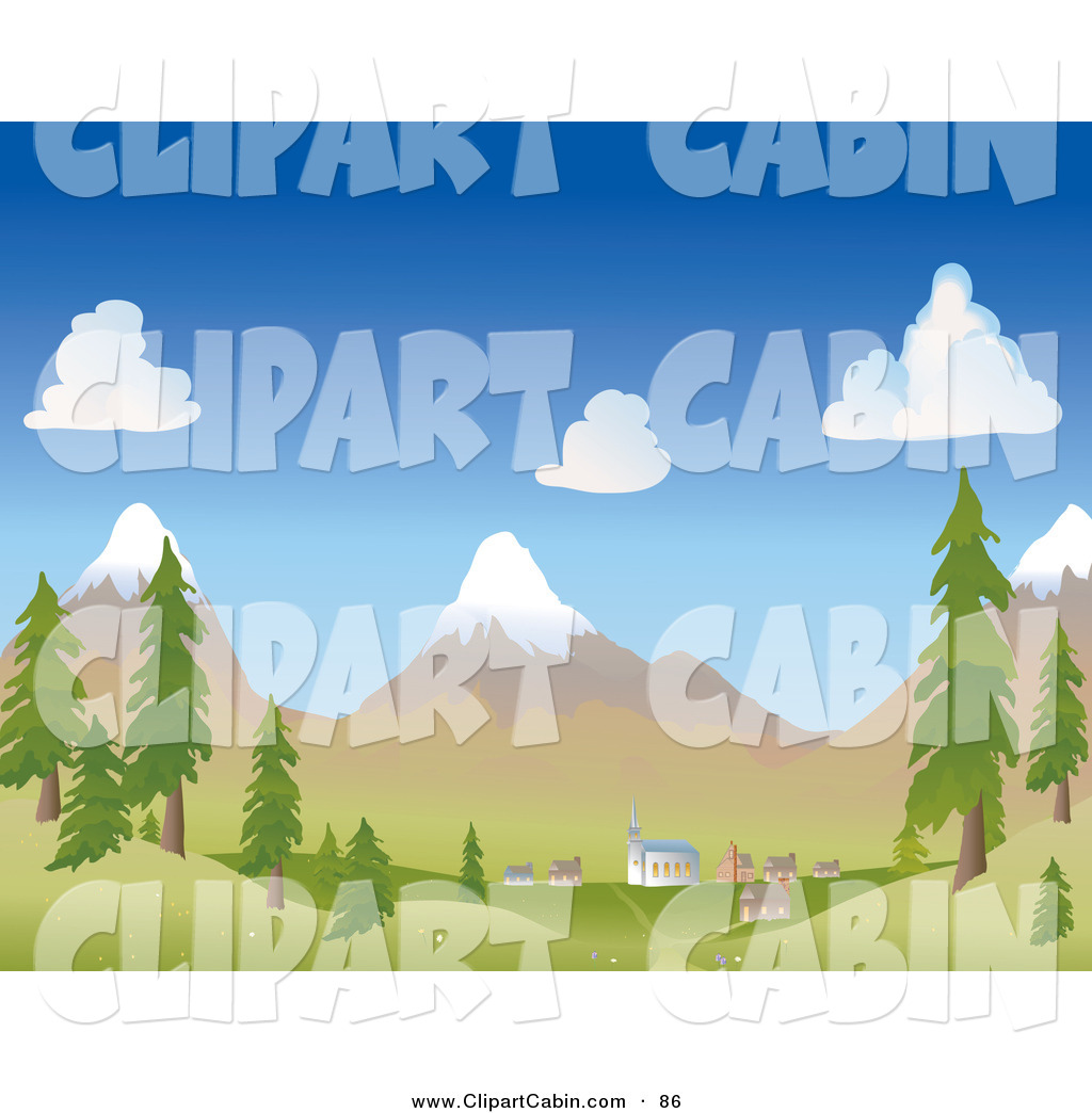 Vector Clip Art of a Small Mountainside Village at the Foot of.