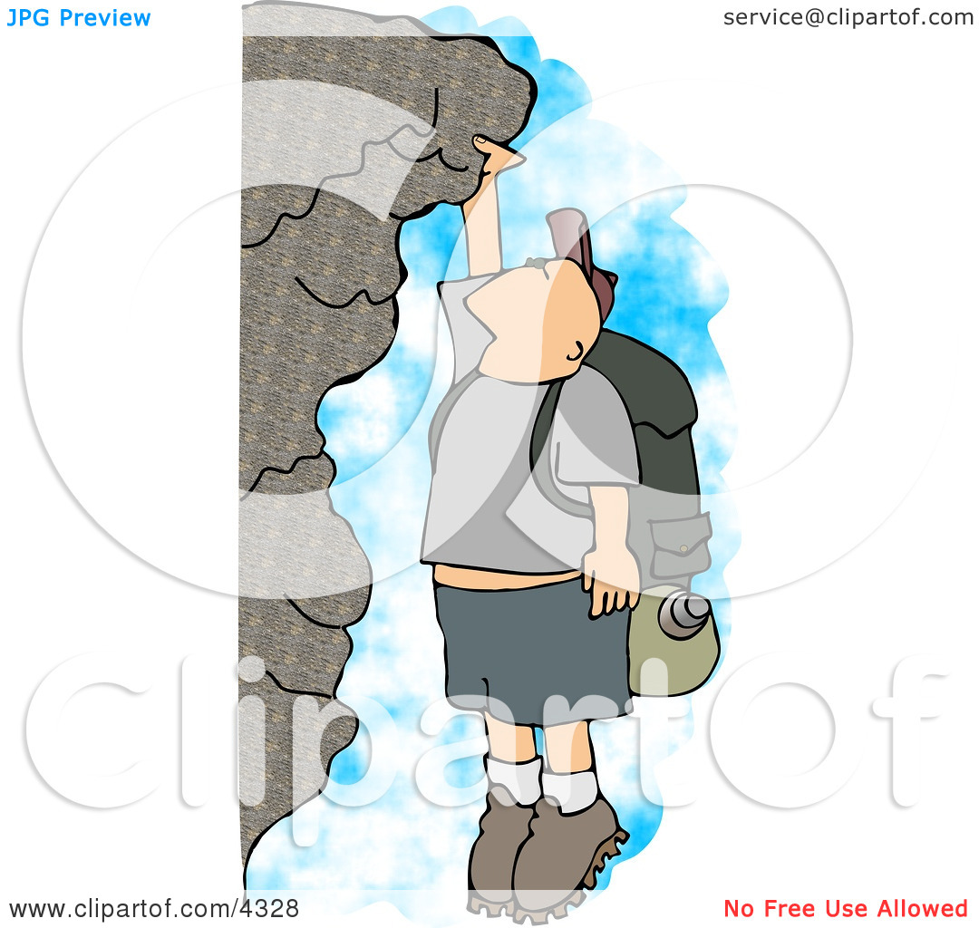 Male Hiker Hanging On a Mountainside Cliff Clipart by Dennis Cox #4328.
