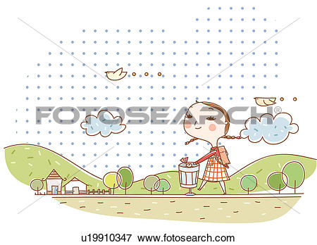 Stock Illustration of trash can, birds, the ridge of a mountain.