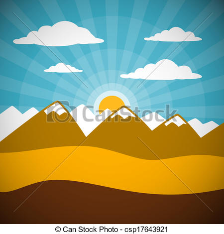 Vector Illustration of Nature Retro Mountains Illustration with.