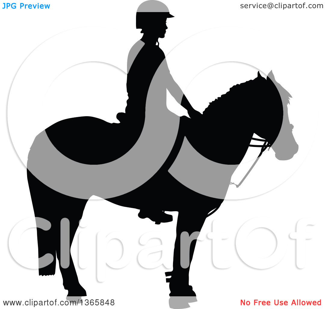 Clipart of a Black Sihouetted Girl Mounted on a Horse, Ready for.