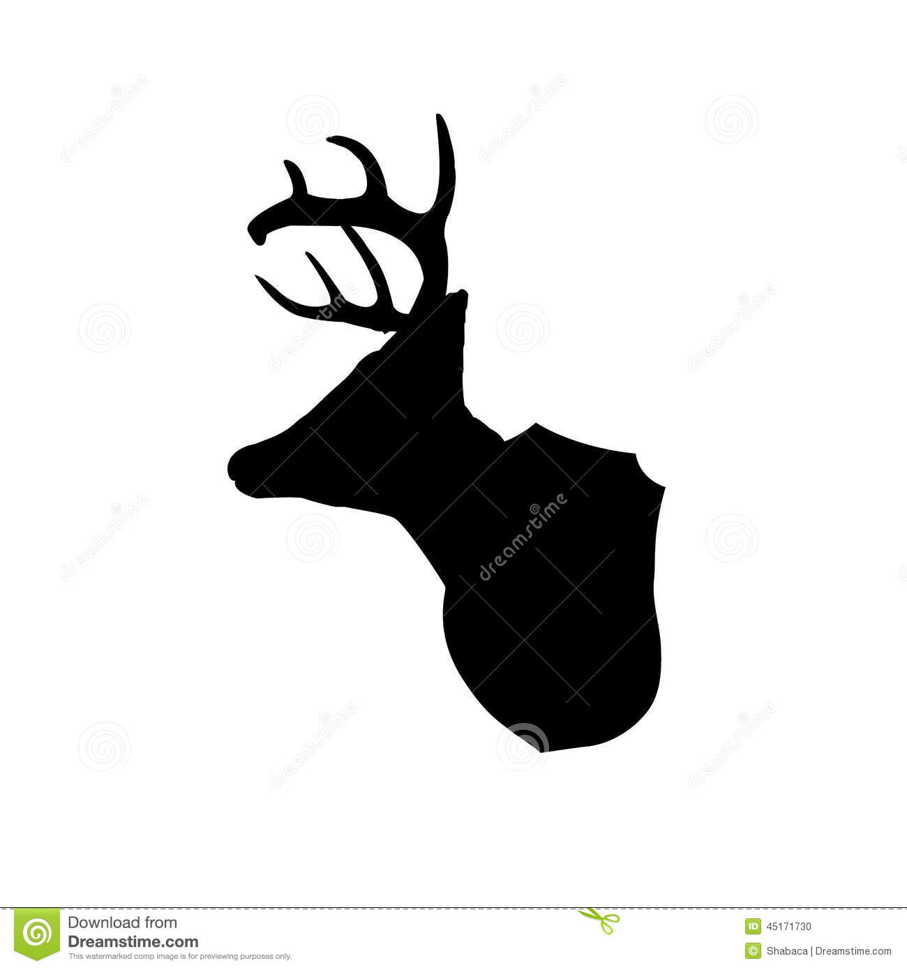 Mounted Deer Head Silhouette Stock Vector.