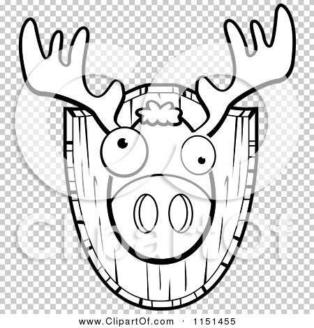 Cartoon Clipart Of A Black And White Mounted Trophy Deer Head.