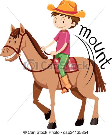 Clipart Vector of Man mounting on the horse illustration.