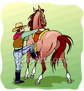 Mounting His Horse Royalty Free Clipart Picture.