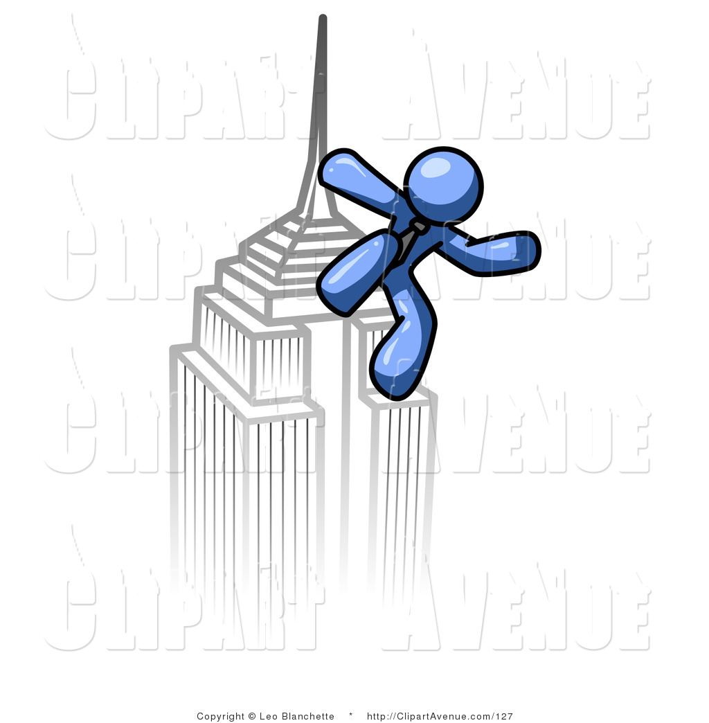 Avenue Clipart of a Blue Man Mounting the Top of a Skyscraper.
