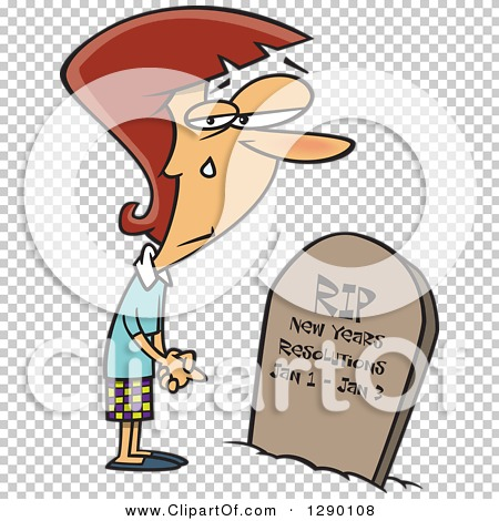 Cartoon Clipart of a Caucasian Woman Mourning over Her Failed New.
