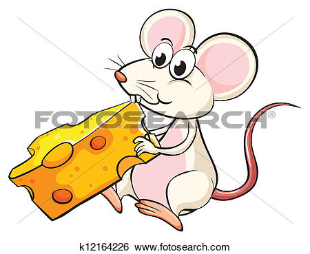 Clip Art of A mouse eating cheese k12164226.