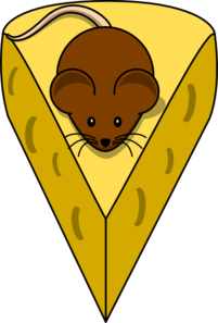 Brown Mouse On Cheese Clip Art at Clker.com.