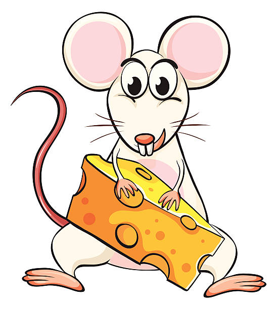 Clip Art Of Mouse Eat Cheese Clip Art, Vector Images.