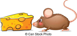 Vector Clip Art of vector color sketch of a mouse and cheese.