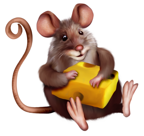 Mouse with Cheese Clipart Cartoon.