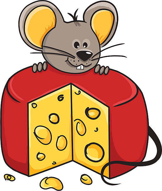 Drawing Of The Mouse Eat Cheese Clip Art, Vector Images.