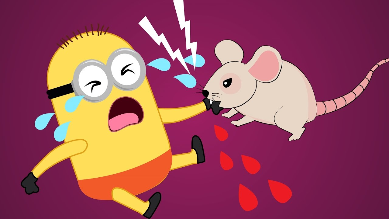 Minions Banana Babies Eat M&M Candies And Bitten By Mouse Crying.