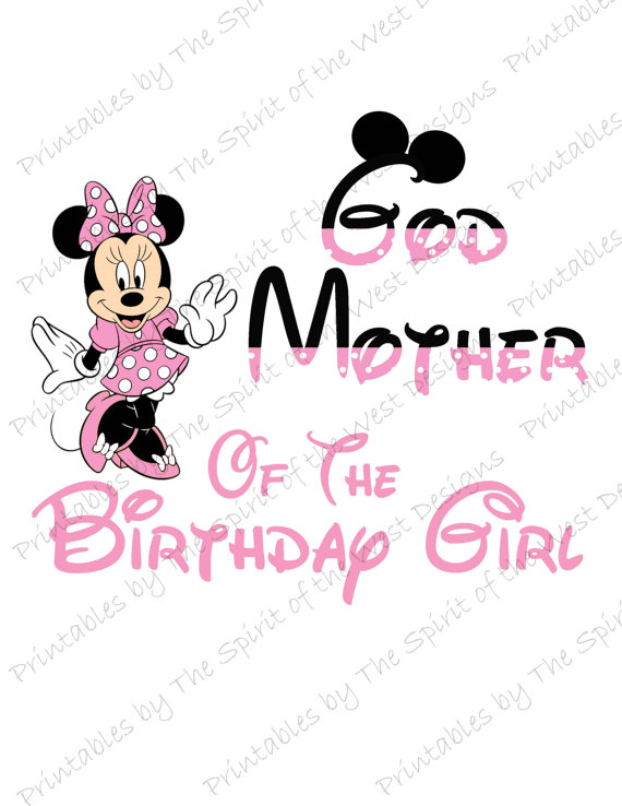 God Mother of the Birthday Girl Minnie Mouse Iron on IMAGE.