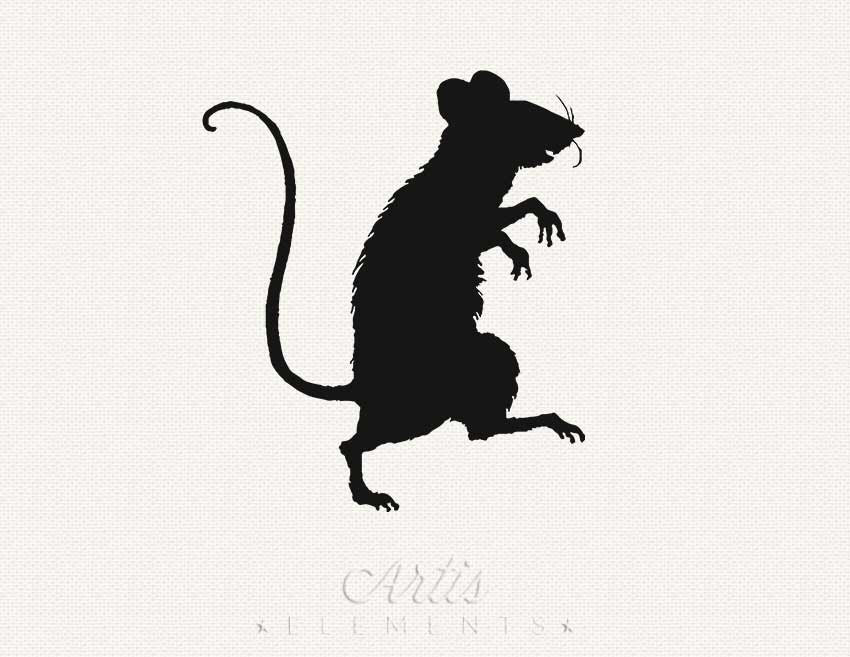 Sneaky Rat or Mouse Silhouette PNG Digital ClipArt Download.
