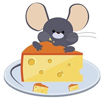 Amazon.com: Happy Gray Mouse Eating Cheese Cartoon Vinyl.