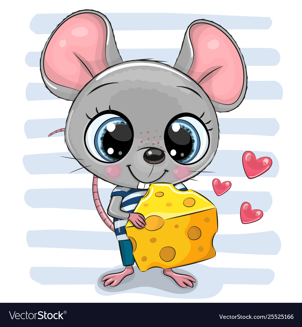 Cute cartoon mouse with cheese.