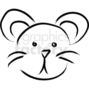 mouse face drawing vector icon clipart. Royalty.