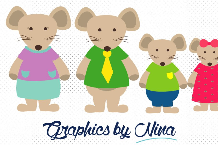 Mouse Family Clipart.
