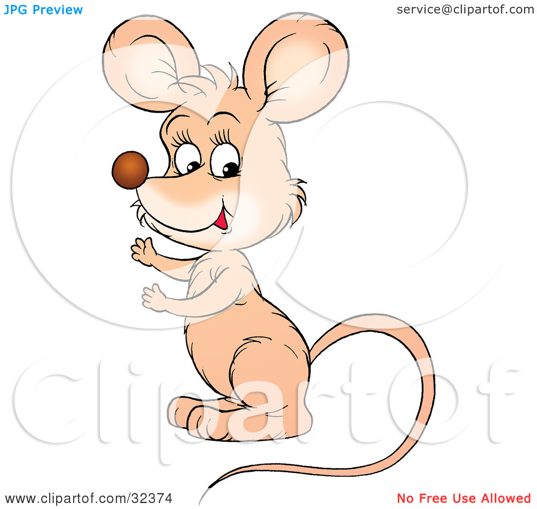 Clipart Illustration of a Cute Beige Mouse With A Long Tail.