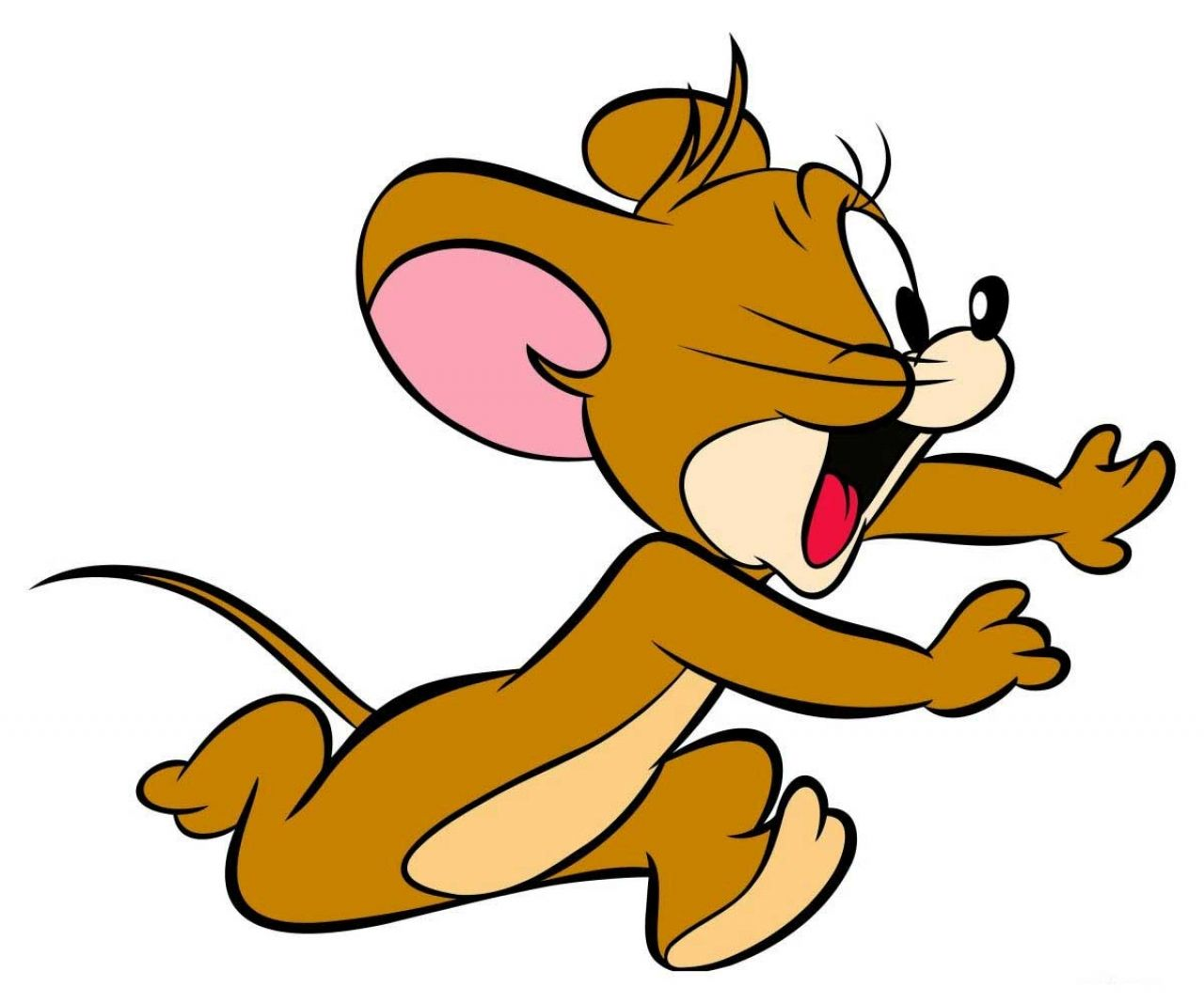 Cartoon wallpapers jerry the mouse running and shouting.