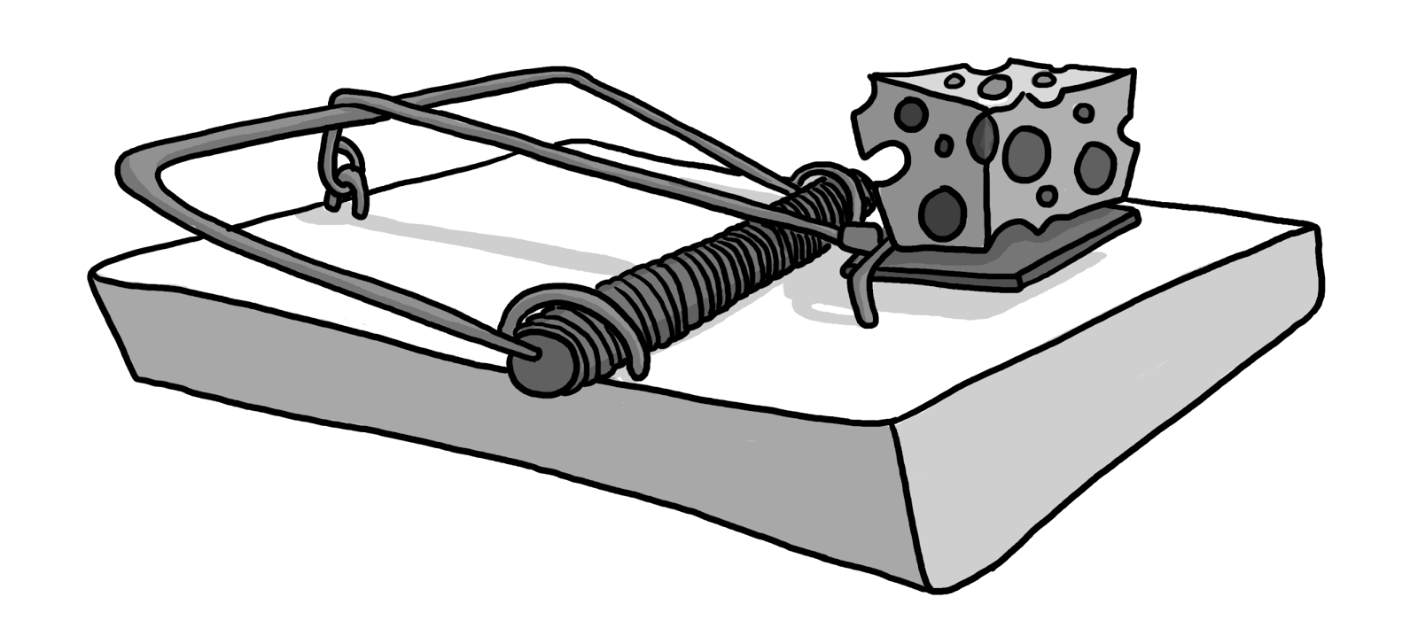 A House Mouse in Trap Clip Art.