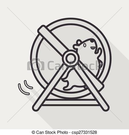 Vector Illustration of Pet mouse exercise wheel flat icon with.