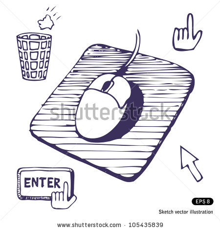 Mouse Mouse Pad Cursors Buttons Hand Stock Vector 105435839.