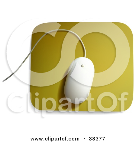 Clipart Illustration of a White MAC Computer Mouse On A Yellow.