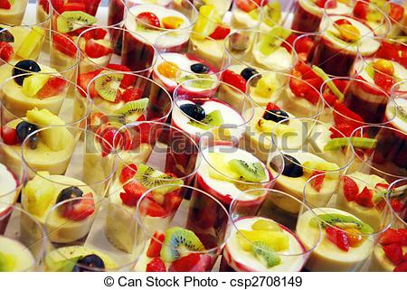 Stock Photographs of mousse au chocolat and red fruit jelly.