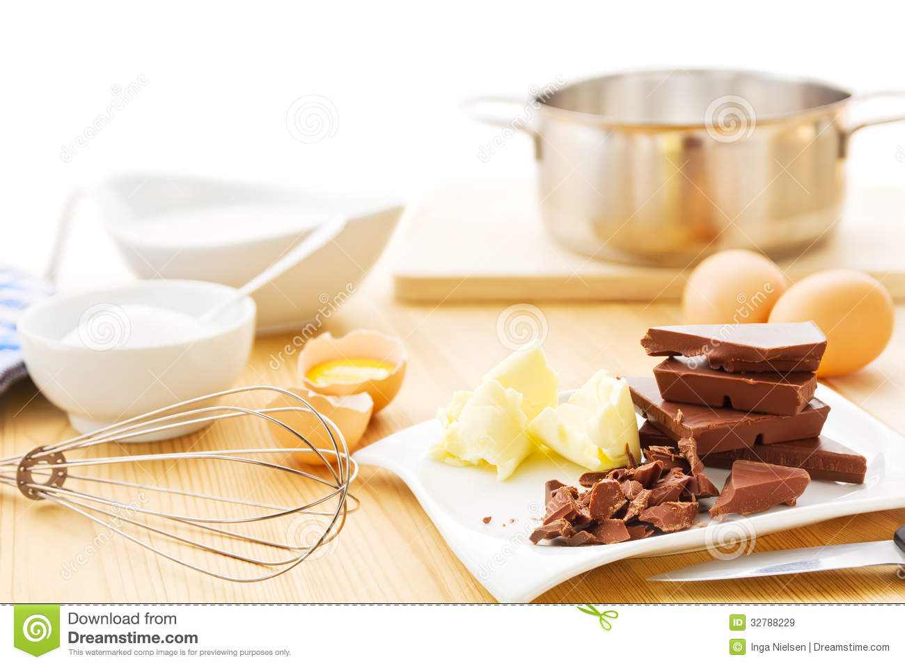 Mousse Au Chocolat Ingredients Royalty Free Stock Images.