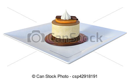 Stock Illustration of 3D Rendering Mousse on White.