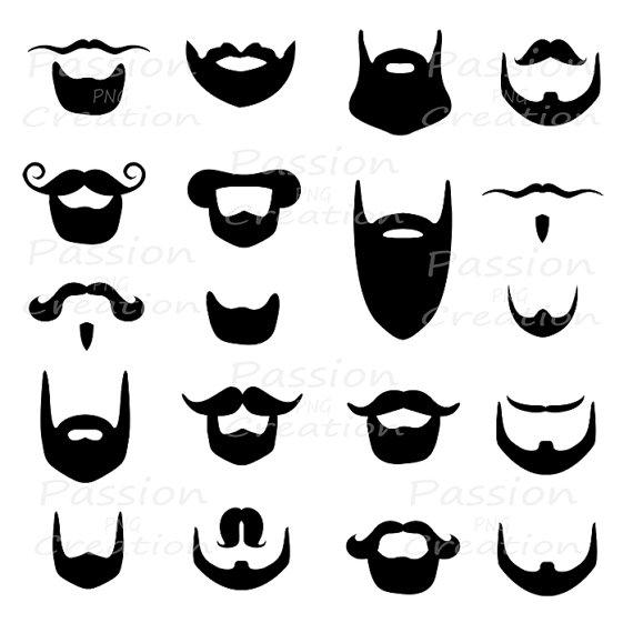 Digital beard clip art, clipart , Beard silhouette, card.