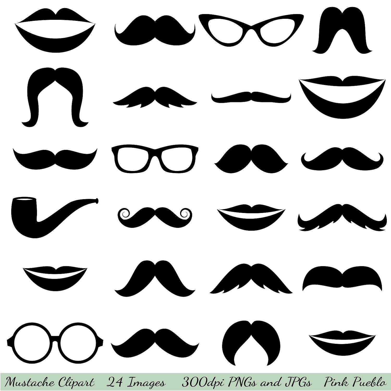 Mustache Printables Clipart.