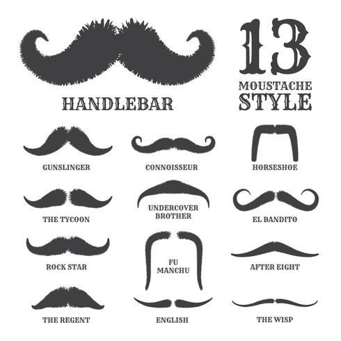 Isolated Silhouette Moustache Collection With Name of Style.