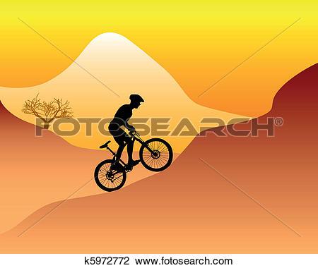 Clipart of mountain bikers k5975405.