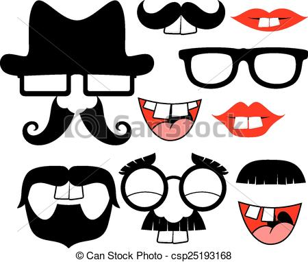Clip Art Vector of funny black mustaches and lips.