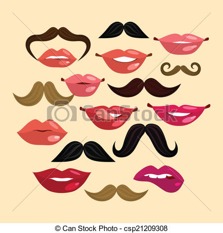 Vector Clipart of Lips and Mustaches.