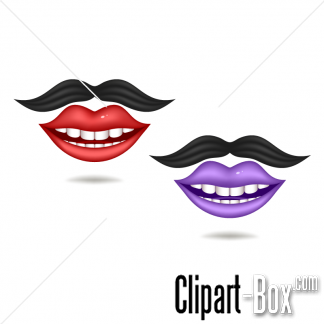 CLIPART SMILING MOUTH AND MUSTACHE.