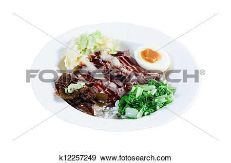Stock Photograph of The garlic mouth meat rice k12257249.